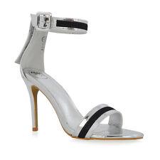 Womens Ankle Strap Stiletto Heel Sandals Ladies Thread Detail Party Prom Shoes UK 4 / EU 37 / US 6 Silver Metallic
