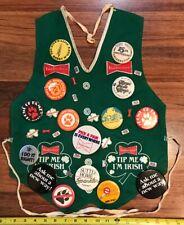 Vtg Budweiser Bud Light Anheuser Busch Vest Apron & 30+ Lapel Hat Tie Pin Lot 👀