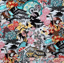 BonEful FABRIC FQ Cotton Quilt B&W Anime Japan Rose Flower Chinese Girl Cartoon