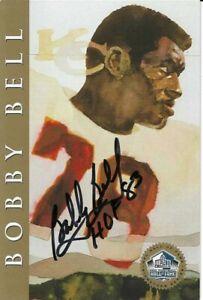 Bobby Bell Kansas City Chiefs  Autographed Ron Mix Gold Football HOF Card