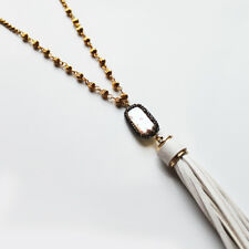 Handmade Natural Freshwater Pearl & Leather Tassel Long Gold BOHO Necklace