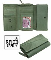 Crumble Womens Sage Green Large trifold Leather Purse Wallet RFID Blocking