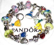 Pandora Bangle Charm Bracelet w/ 6 Glass Beads Disney Princess Dress