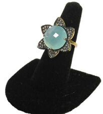 Vintage Sterling Silver Diamond Large Chalcedony Flower Ring Diamonds
