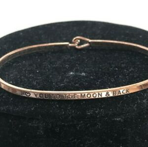I Love You To The Moon And Back Copper Bangle Bracelet