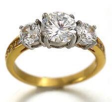 18K WHITE YELLOW GOLD GF CLASSIC 3-STONE 4CT LAB DIAMOND ENGAGEMENT WEDDING RING