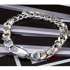 "Cool 925Sterling Silver 10MM Color Seperation Strong Men Chain Bracelet 8"" YH113"