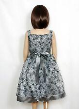 Vestido Niña Dama De Honor Flores Fiesta Dorado Gris 4 5 6 7 8 años