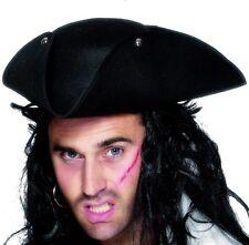 unisex para hombre Smiffys Pirata Disfraz Tricornio Sombrero DICK TURPIN Negro