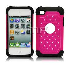 Rhinestone Bling Impact Dual Layer Case For iPod 4 4th Generation - Hot Pink