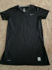 Nwot-Women's Size M (8-10) Black Nike Pro Dri-Fit S / S V-Neck Compression Top