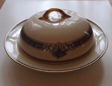Noritake Ivory China Crestwood Round Covered Butter Dish blue scroll fruit gold