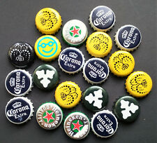 20 Mixed Bottle Tops Crown Caps Craft Smiley Heineken Corona Yellow Carlsberg