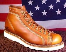 THOROGOOD MEN SIZE 9 1/2 D USA UNION MADE WEDGE SOLE LACE TO TOE BOOTS 814 4233