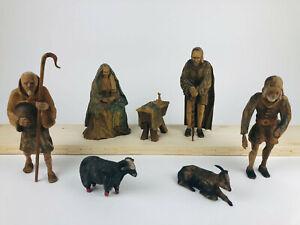Weihnachtskrippe BAROCK handgeschnitzt 7-tlg., 22cm Krippenfiguren Holz 19.Jhd.