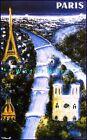 Paris France 1960 By Night Vintage Poster Print Villemot Art Travel Tourism