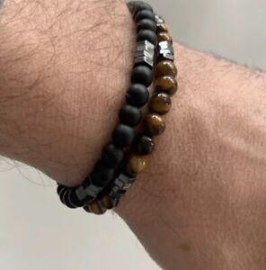 Men's Fashion Handmade Stone Bead Charm Bracelet Wristband