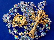Custom SWAROVSKI Crystal Rosary Gold Plated Dogwood Tree Hand Crafted 7mm