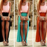 Womens Ladies Asymmetric Long Gypsy Maxi Skirt Chiffon Full Length Skirt Dress