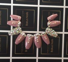 Hand Painted False Nails Rose Nude + Rose Gold Diamante Coffin Cover Tips