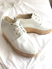 Robert Clergerie Pollux White Leather Lace-up Loafer Wedges Sz 39