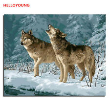 Animals Digital Oil Painting by Numbers on Canvas DIY Handpainted Wolves in Snow