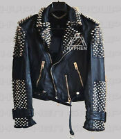 New Women Black Punk Unique spiked Silver  Studded Cowhide Biker Leather jacket