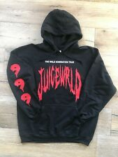 Juice Wrld Wrld Domination Hoodie 999 on Sleeve Black (Red and White Print)