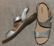 Hotter Silver Leather Open Toe Strappy Slingback Sandals - Size UK 6.5 STD