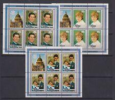 1981 Royal Wedding Charles & Diana MNH Stamp Sheetlets Surch Niue SG 444-446