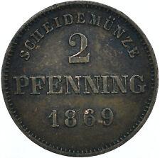More details for coin / german state / 2 pfennig, 1869 duchy of saxe-meiningen   #wt28067