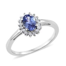 Tanzanite and Diamond Ring in Platinum Overlay Sterling Silver 1.00 Ct. sz P