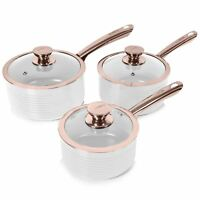 Tower Linear Saucepan Set, Non-Stick Ceramic Aluminium, White/Rose Gold, 3 Piece