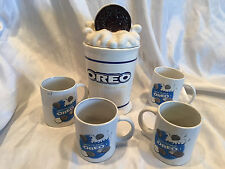 4 Collectible OREO Cookie Houston Harvest Nabisco Coffee Cup Mugs & Cookie Jar