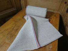 A Homespun Linen Hemp/Flax Yardage 7 Yards x 22'' Red & Blue Stripes  # 8411