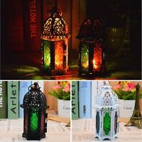 Portable Moroccan Mini Iron Glass Lantern Tea Light Holder NEW Home Garden Decor