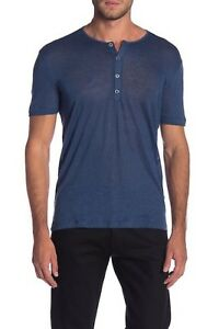 John Varvatos Collection Men's Lake Blue Linen Burnout Short Sleeve Henley Shirt