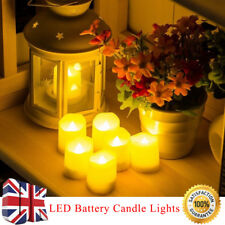 Remote Control Flickering Flame Battery Candle Tea Lights With Timer Ivory LED