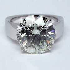 Moissanite Solid Engagement Ring 3.10Ct 14k White Gold Certified Round Genuine