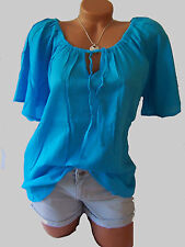 Crepe Bluse Tunika v. SHEEGO Gr. 46 48 aqua blau 415548 Neu  Damenmode