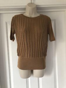 BNWT M&S Tan Camel Ribbed Short Sleeved Knit Jumper Sweater Spring Summer Sz 10