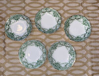 Set Of 5 Antique Johnson Brothers Florentine Berry Bowls Green Transferware