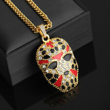 """18k Gold Plated Jason Hockey Mask Iced Out Pendant 28"""" Cuban Necklace Slaughter"""
