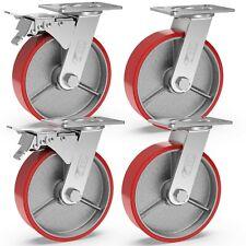4 Castor Wheels 150mm 1280kg Heavy Duty Swivel Trolley Furniture Castors IRON