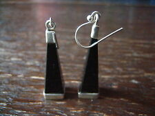 exklusive Onyx 925er Silber Ohrringe Hänger 5 cm lang schwarz Handarbeit