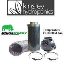 """6"""" / 150mm Long Rhino Thermostatic Fan & Hobby Carbon Filter Ducting Hydroponics"""