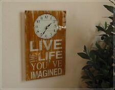 """Wanduhr Glas Sinnspruch """"Life imagined"""" Uhr Vintage Used-Look Hellbraun NEU"""
