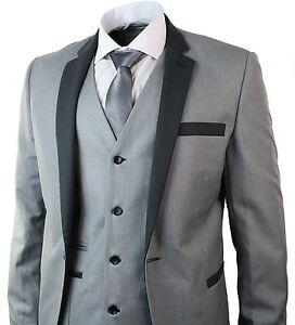 Men Slim Fit Suit Grey Tuxedo 3 Piece Work Office or Wedding Dinner Party Suit