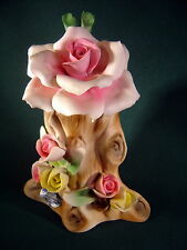 Vintage Capodimonte Made in Italy ~Roses on Tree Stump~ NO CHIPS!
