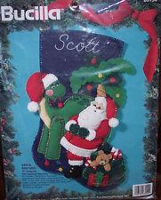 "Bucilla SANTA & DINO Felt Christmas Stocking Kit RARE Dinosaur Sterilized 18"""